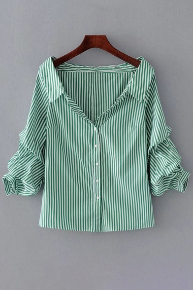 Striped Printed Lapel Collar Ruched Sleeve Buttons Down Shirt