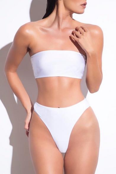 Stylish Plain Bandeau Sexy Bikinis