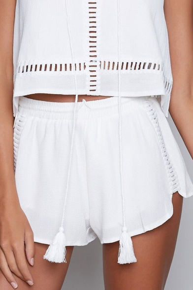 Cropped Shorts Plain Cami Tassel with Out Loose Hollow High Top Embellished Waist qPxxaWXOg