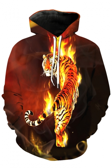 Pocket Tiger Flame Fire Long Top Sale Sleeves Pullover in Print Hoodie with Owqx56xfP