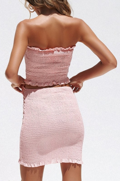 Basic Plain Strapless Ruched Design Cropped Top with Mini Bodycon Skirt