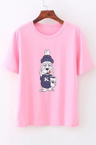 Printed Short Round Dog Tee Sleeve Neck Cartoon Ow75qAF