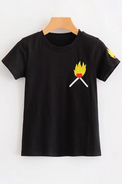 Round Sleeves Chic Short Embroidery Leisure Flame Neck Match Tee Fire IIPTOn