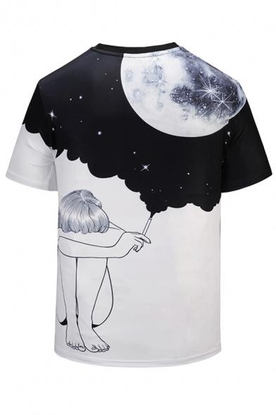 Neck Color Sleeve Round Girl Moon Tee Printed Block Sky Short YqfUY
