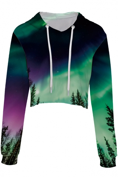 Digital Landscape Aurora Crop Sleeve Hoodie Printed Long rqrAw6C