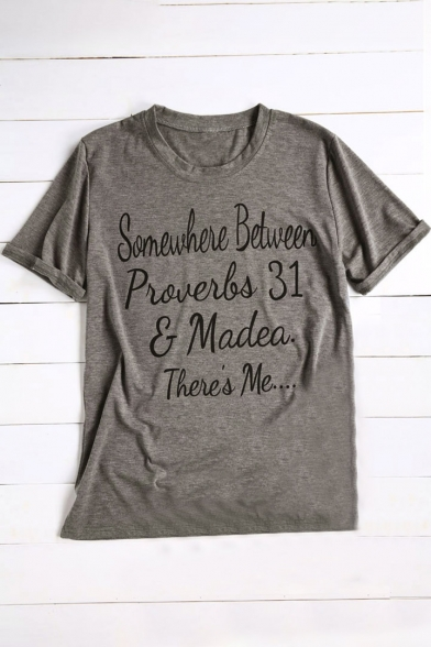 SOMEWHERE Short BETWEEN Letter Tee Neck Round Hot Casual Stylish Print Sleeves 0qnx4ZfEFW