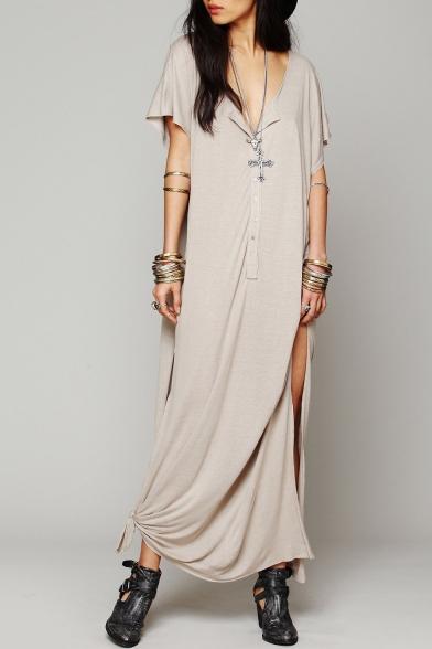 Hot Stylish Plunge Neck Button Front Short Sleeve Slit Side Maxi T-shirt Dress