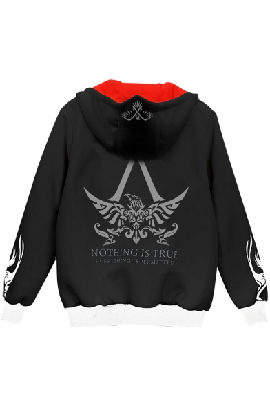 Print Hooded Sleeve NOTHING Long Jacket Block Color Zip Up Graphic TRUE Letter IS qIgU1wI8z