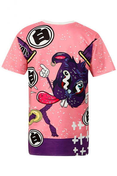 Retro Casual Dog Print Sleeves Tee Neck Chinese Round Cartoon Short rrAqw8