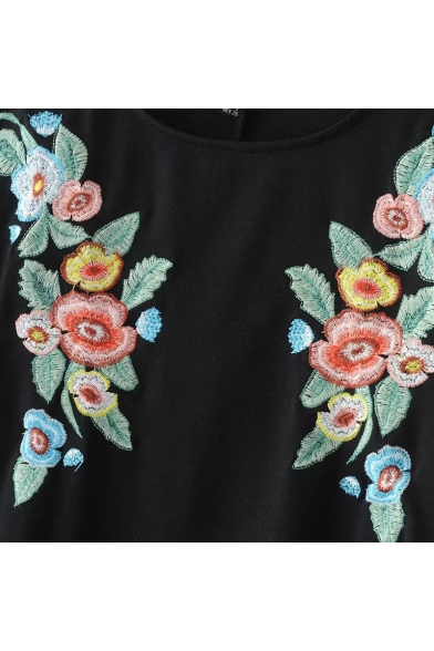 Retro Floral Embroidered Round Neck Lantern Sleeve Mini A-Line Dress