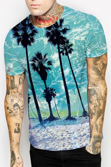 Retro Tree Landscape Palm Pattern Round Neck Short Sleeves Casual Tee