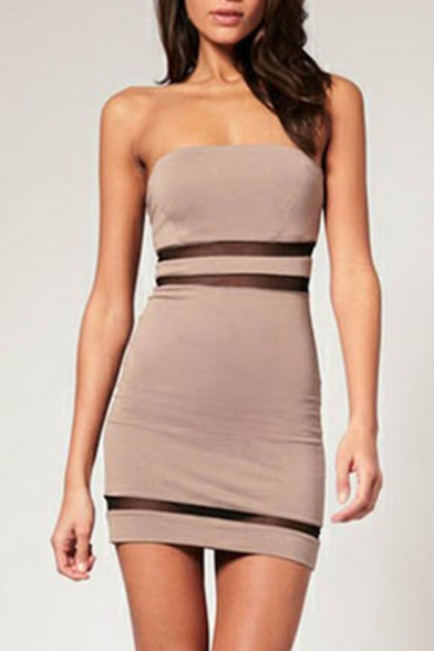 Sexy Fashion Strapless Gauze Patchwork See Through Mini Bodycon Bandeau Dress