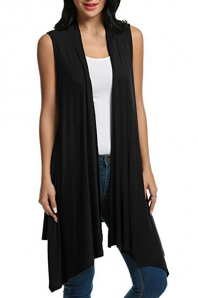 Unique Collarless Sleeveless Plain Asymmetric Tunic Vest Coat