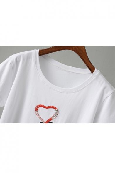 Gesture Heart Sleeve Printed Tee Neck Beaded Round Short YAwY5q