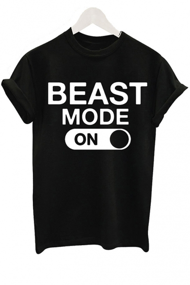 Neck Round ON MODE Sleeve BEAST Printed Tee Short qIBZx7Aw