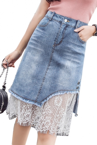 50% off soft and light latest Chic Floral Lace Insert Zipper Fly Midi A-Line Denim Skirt