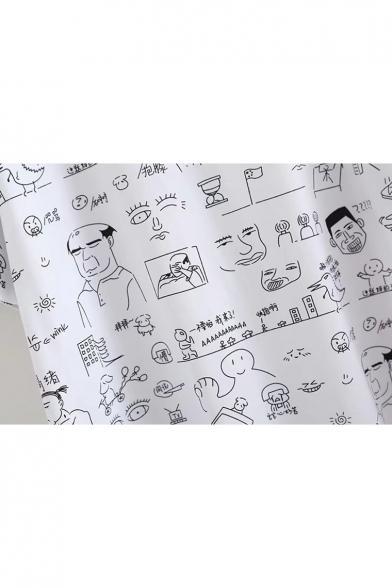 Character Printed Short Chinese Sleeve Tee Round Neck gZFdwxZAPq
