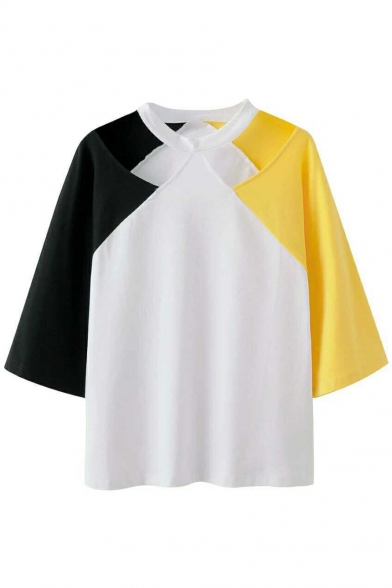 Color Block Hollow Out 3/4 Length Sleeve Leisure Loose Tee