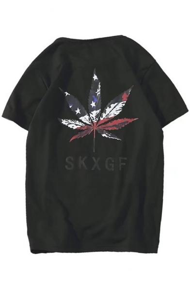 Sleeves Print Letter T Leaf Neck Summer shirt Round SKXGF Cool Short 1q0StwfTx