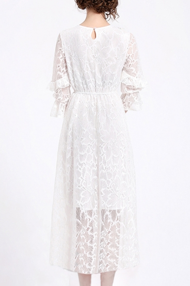 Floral Embroidered 3/4 Length Sleeve Round Neck Maxi A-Line Dress