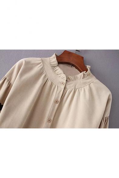 Heart Embroidered High Neck Long Sleeve Buttons Down Shirt