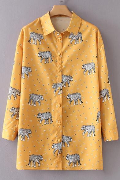 Baycheer / Leopard Polka Dot Printed Lapel Collar Long Sleeve Buttons Down Tunic Shirt