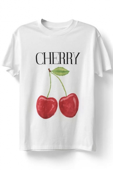 Round Fruit Letter Sleeve Printed Tee Neck Short Loose Twz1qf