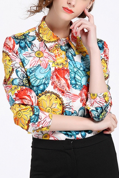 Shirt Lady Lapel Long Collar Buttons Floral Down Office Printed Sleeve qRCzxxwt
