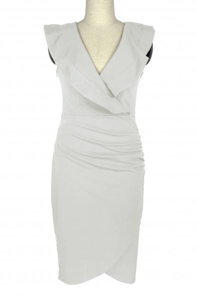 Ruffle Detail V Neck Sleeveless Plain Mini Asymmetric Hem Bodycon Dress