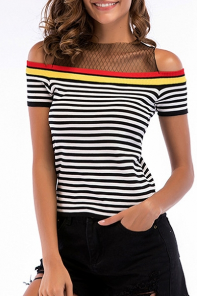 Sheer Mesh Insert Round Neck Cold Shoulder Striped Printed Short Sleeve Knit Tee