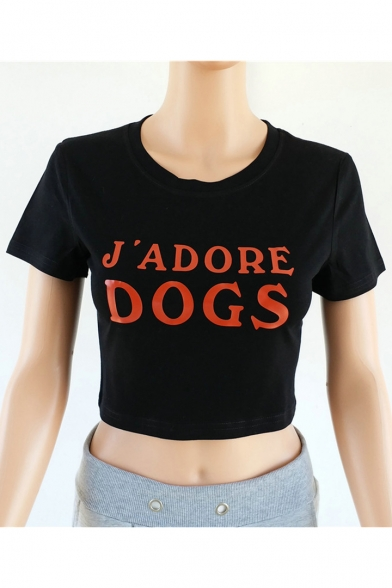 Tee Printed Crop DOGS Sleeve Neck Round Letter Short ax6qwZ10
