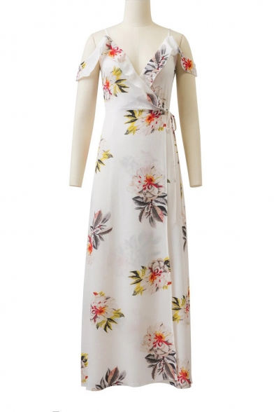 Fancy Ruffle Detail Off the Shoulder Floral Print Maxi Wrap Dress
