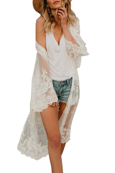 Floral Embroidered Sheer Mesh Long Sleeve Tunic Cover Up