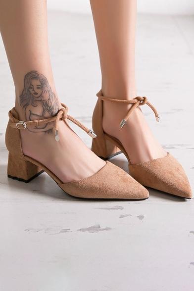 25d93db0aea2e Ladylike Elegant Plain Ankle Tied Mid Heel Women's Shoes