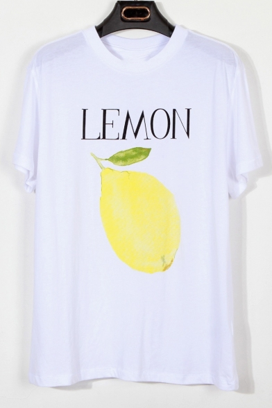 Round Printed Loose Short Fruit Sleeve Letter Tee Neck 1RqTwxE
