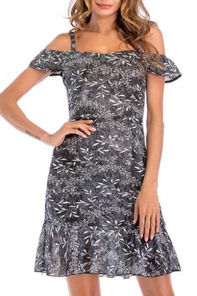 Off The Shoulder Leaf Printed Short Sleeve Ruffle Detail Mini A-Line Dress