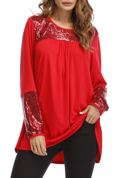 Neck Long Round Spring Tee Design Patchwork Sleeve Sequined Detail Top Loose Zqnw5CxY8