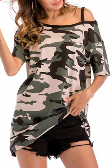 Camouflage Sleeve Tee Sexy Shoulder Cold Short Leisure Printed Tunic ExxZv6q