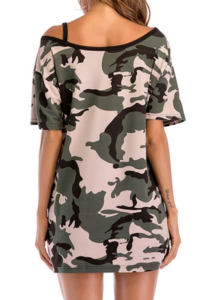 Shoulder Leisure Short Camouflage Cold Tee Sexy Tunic Sleeve Printed wBF5xvUq