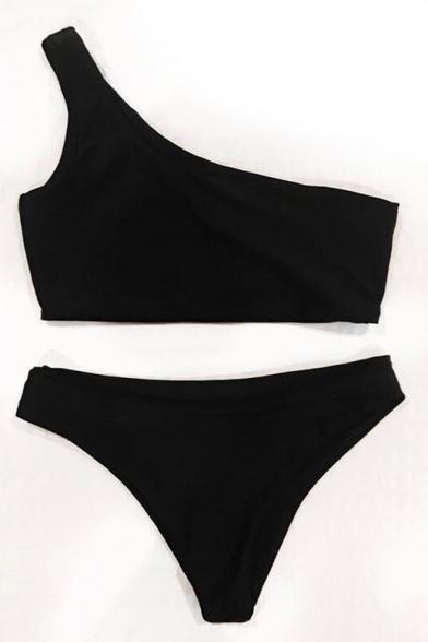 Plain Summer Fashion Shoulder Tankini Beach Simple One 4qxdwAvRR