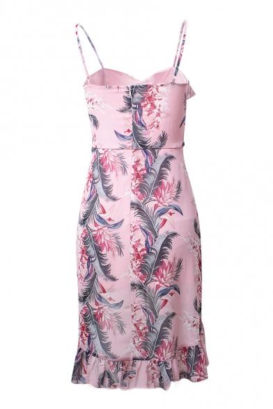 Beach Fashion Floral Leaf Print Ruffle Detail Asymmetrical Hem Cami Dress