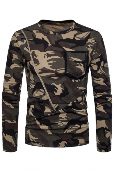Round Tee Embellished Long with Sleeve Printed Neck Zipper Camouflage Pocket pn0qw1S54x