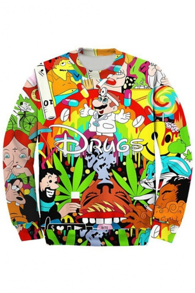 Printed Neck Pullover Round Letter Cartoon Long Character Sweatshirt Sleeve qaw6SE