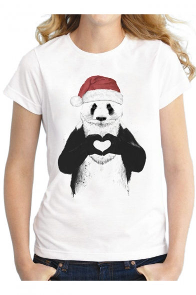 Hat Christmas Round Casual Theme Print Panda Sleeves with Short Santa Tee Neck qxIfRIYw