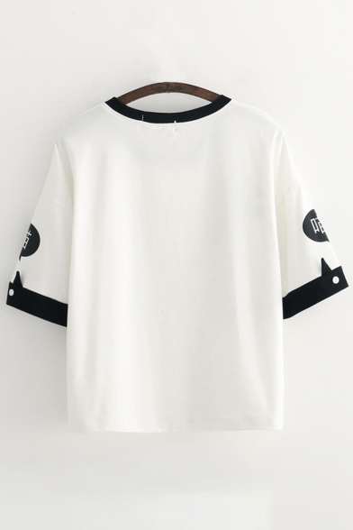 Short Chinese Printed Cat Neck Block Tee Color Round Sleeve Aqgxvgn