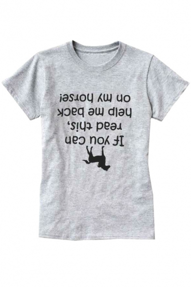 Neck Sleeve YOU IF Horse Comfort Round Short Printed Letter CAN Tee 87qSqngwU