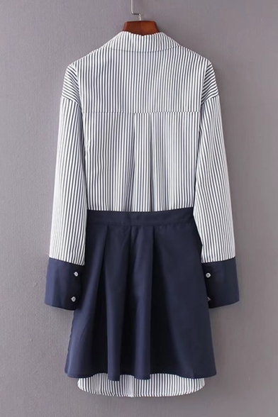 Lapel Collar Long Sleeve Striped Buttons Down Tunic Shirt with Tied Waist Mini Skirt Co-ords