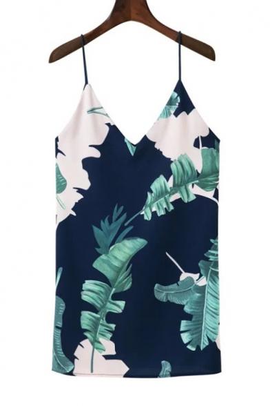 Leaf Printed Spaghetti Straps Sleeveless Mini Cami Dress