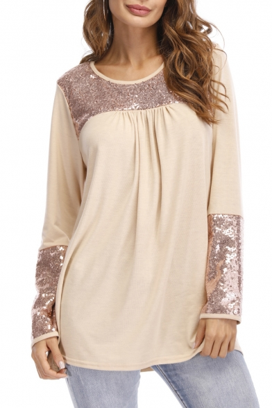 Round Sleeve Sequined Patchwork Design Top Long Loose Detail Tee Spring Neck aaXEqZ