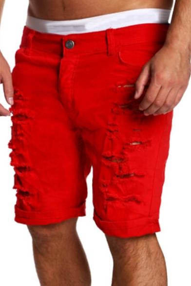 Street Fashion Ripped Off Detail Zipper Fly Plain Men's Skinny Shorts
